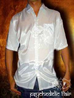 WHITE SHORT SLEEVE SYNTHETIC THAI SILK CASUAL DRESS SHIRT size XXL 2XL