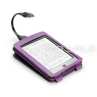 KINDLE TOUCH FLIP PURPLE LEATHER COVER CASE WITH SLIM LED LIGHT