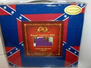 Rebel.Confederate Flag..Red & Blue.Block PaternTwin Size 3Pc 800 TC