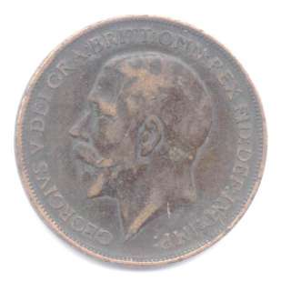 1912. GEORGE V PENNY WITH THE HEATON MINT MARK. GOOD.