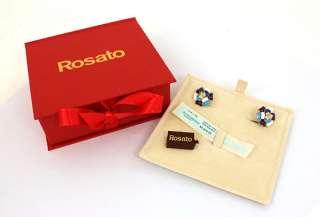 ROSATO SIGNED 18K GOLD, DIAMONDS & ENAMEL LADIES EARRINGS NWT BOX