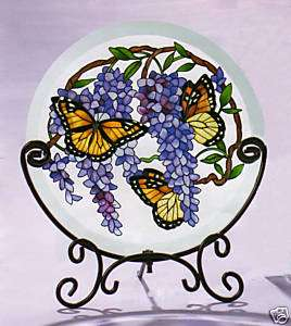 VIOLET WISTERIA & BUTTERFLIES * TABLE TOP PANEL w STAND