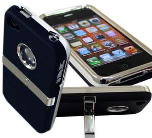 BLACK DELUXE HARD CASE COVER CHROME STAND RUBBERIZED CLIP FOR IPHONE 4
