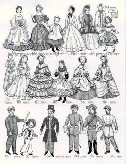 1840s 1860s Costume Patterns Fashion Dolls Civil War