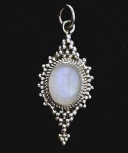Rainbow Moonstone Oval Sterling Silver Pendant Gemstone