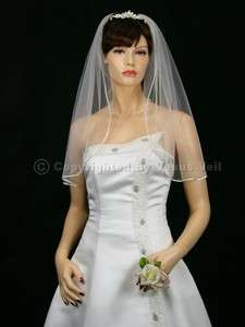 1T White Wedding Bridal Shoulder Rattail Edge Veil