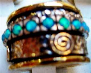 Spinning ring turquoise silver gold spinner ring Israel