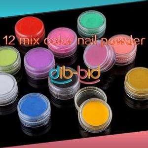 Professional 12 Mix Color Jumbo Beautiful Nail Art Acrylic Powder