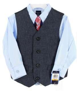 NWT Nautica Boys Toddler Four Piece Dress Suit Shirt Tie Vest Pants
