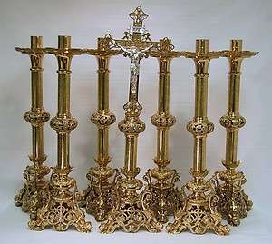 ALTAR CROSS WITH 6 CANDLE STICKS SET (CHALICE CHURCH CO.)