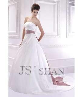 Sash Satin Strapless A line Bridal Gown Wedding Dress,Custom