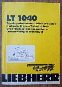 Liebherr LT 1040 40ton Hydraulic Crane Brochure