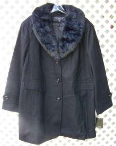 GIACCA BY GALLERY 3X BLACK WOOL REMOVALBE FAUX FUR COLLAR COAT JACKET