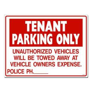 Lynch Sign Co.24 in. x 18 in. Sign Red on White Plastic Tenant Parking