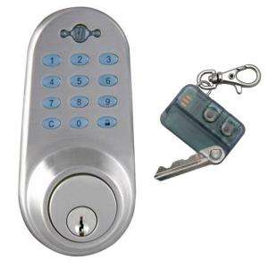 CylinderSatin Chrome Deadbolt Door Lock and Keyless Infared Red Remote
