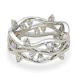 Rhodium Plated Open Band CZ Ring 925 Sterling Silver