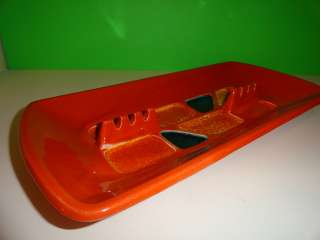 VTG MID Century Modern USA Pottery Orange Abstract MOD Lg Coffee Table