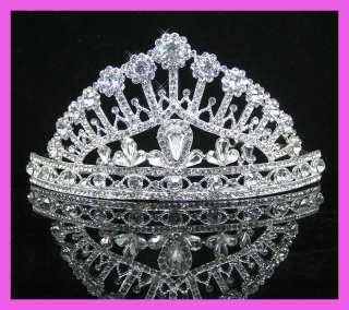 Wedding/Bridal crystal veil tiara crown headband CR188