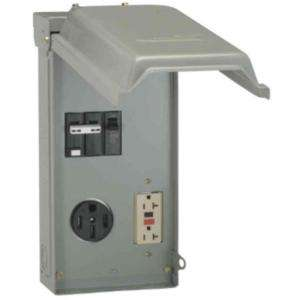 GE 70 Amp 3 Space 3 Circuit Temporary Power Outlet with 50 Amp GFCI