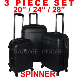 Piece Luggage Set BLACK Spinner 4 Wheel Expandable ABS Hard Shell