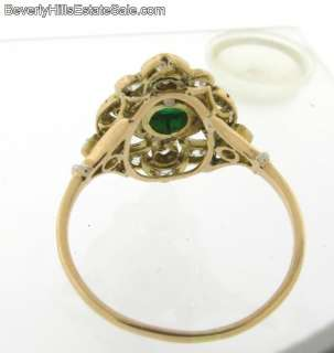 Antique Art Deco 18k Gold Diamond Cabochon Emerald Ring