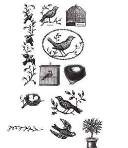Birds & Nests Rubber Stamp Set in a Tin by Cavallini