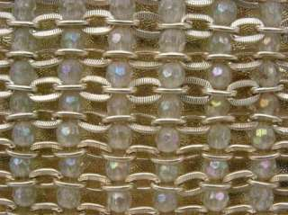 Vtg Clutch Gold Metal Chain Crystals Du Val Bag Purse