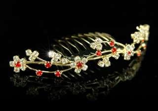 Bridal Wedding Red Flower Crystal Gold Plat Tiara Comb T1134