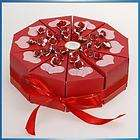 Wedding Favor Boxes Red Cake Slice Box Bridal Shower Centerpiece w