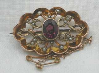 Lovely Antique 9ct Rose Gold Amethyst & Seed Pearl Brooch