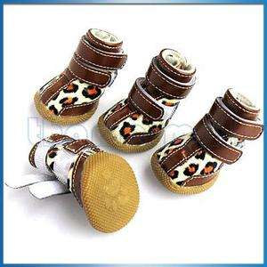 Chocolate Leopard Spots Leather Pet Dog Shoes Boots #3