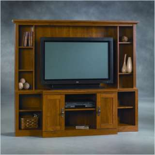 Thornwood oak home theater entertainment center 3 piece wall unit - Sauder harvest mill home theater ...