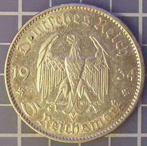 1934E German nazi silver 5 mark Hindenburg church 2 swastika .900