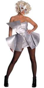 FANCY DRESS  Lady Gaga Silver Sequin DressAdult SMALL