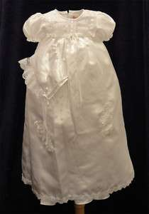 NWT Baptism Christening Blessing Dress White 12 Bonnet