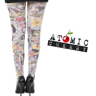 Tights Leggings Pop Art Opaque Mod Rockabilly Punk Cool Hosiery 60s