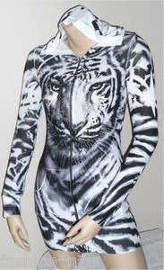 ANIMAL CRYSTAL TIGER TATTOO ZIP UP HOODIE SWEATER DRESS TUNIC & ED
