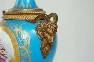 ANTIQUE SEVRES PORCELAIN ROMANTIC SCENE BRONZE RAMS HEAD CANDLESTICK