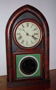 ANTIQUE GILBERT GOTHIC ARCH TOP 8 DAY MANTEL SHELF CHIME CLOCK