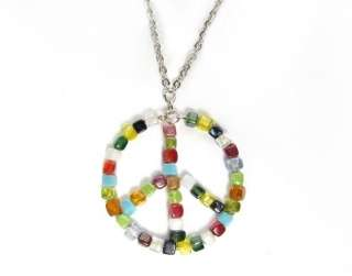 Zad Multi Glass Bead Mosaic Necklace Peace Sign Pendant
