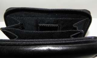 NEW GIANI BERNINI BLACK GLAZED LEATHER COIN BILFOLD CLUTCH WALLET