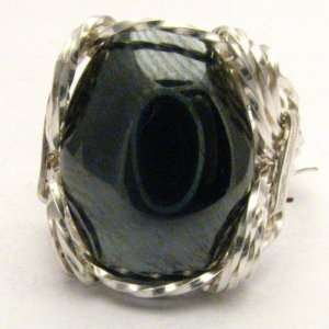 Wire Wrap 925 Silver Hematite Ring any size
