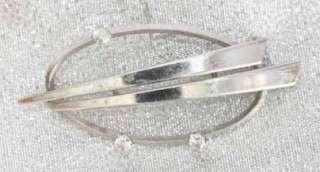 50s Art Moderne Crystal Rhinestone Silver Brooch