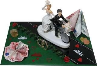Geldgeschenke Hochzeit Brautpaar mit Fahrrad Rad silber