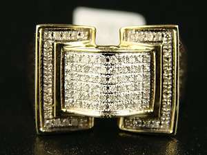 10K MENS YELLOW GOLD ROUND CUT PAVE DIAMOND PINKY RING