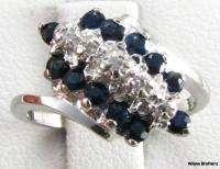 SAPPHIRE RING   10k White Gold Diamonds Fine Estate Fashion