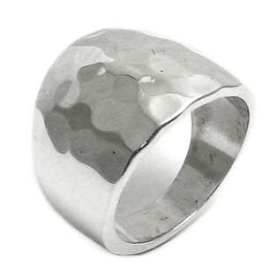 sterling silver HAMMERED CIGAR BAND RING size 5 11