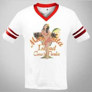 Island Come To Paradise Mens V neck Ringer T shirt Pin Up Girl Tees