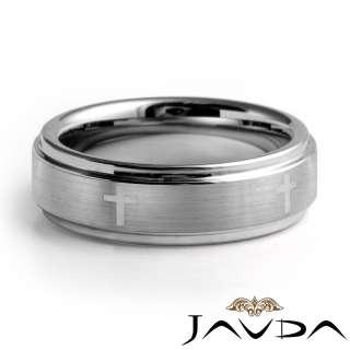 Men Tungsten Carbide Wedding Band Laser Engrave Cross Comfort Fit 7m