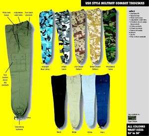 MENS ARMY CARGO CAMO COMBAT TROUSERS WORK MILITARY░▒▓█